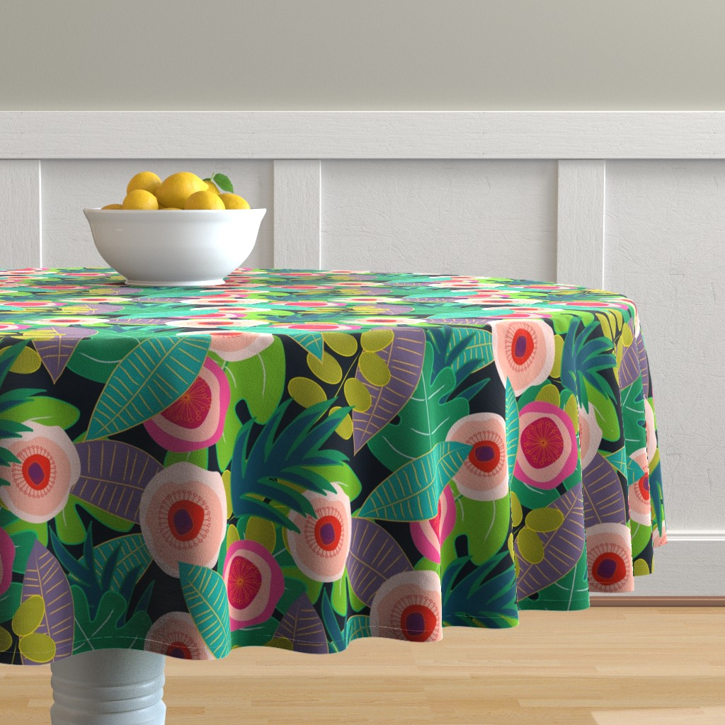 Malay Round Tablecloth featuring In Bloom on black by mirimo_design
