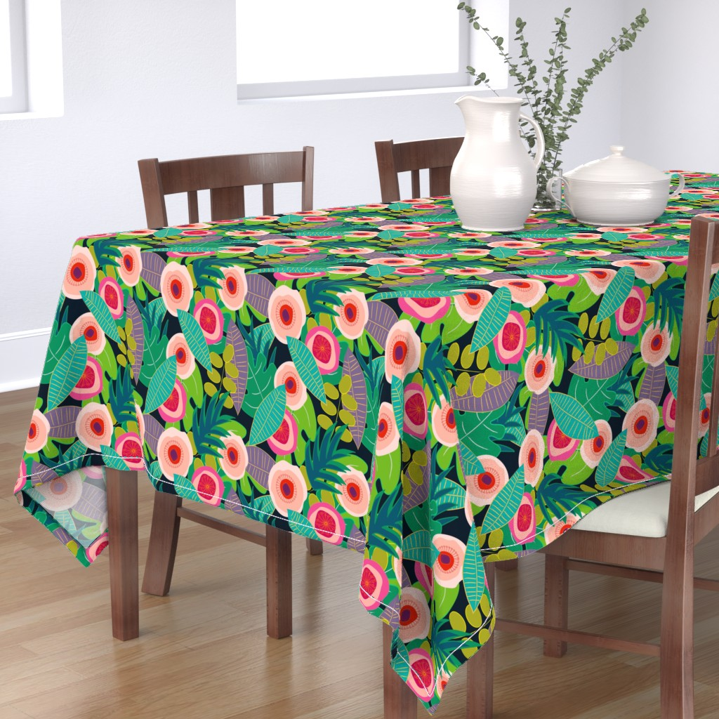 Bantam Rectangular Tablecloth featuring In Bloom on black by mirimo_design