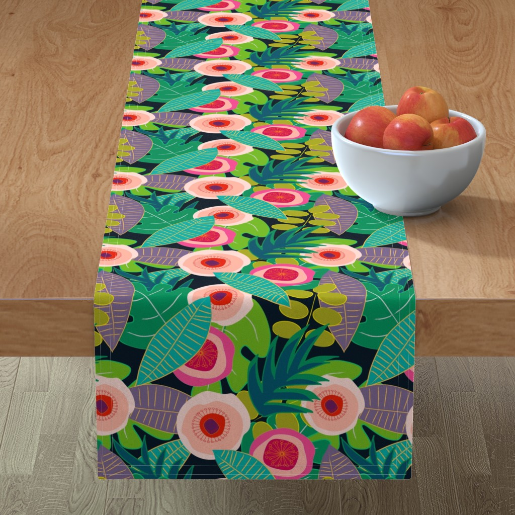 Minorca Table Runner featuring In Bloom on black by mirimo_design