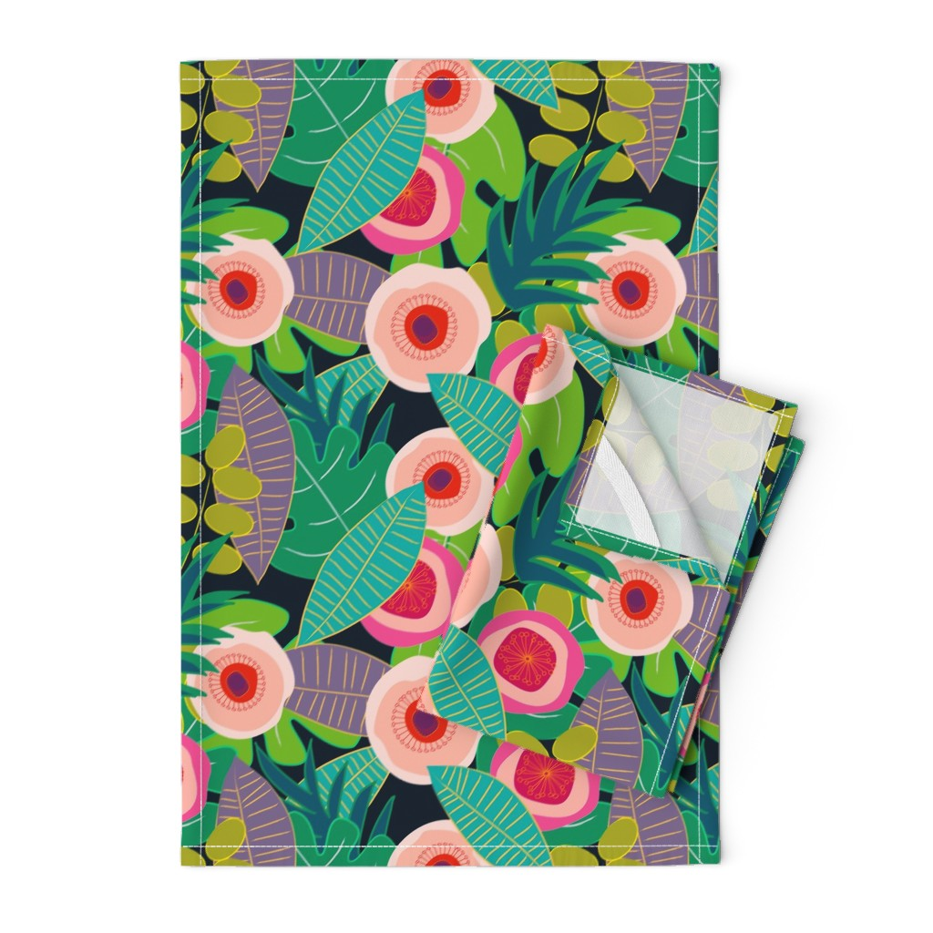 Orpington Tea Towels featuring In Bloom on black by mirimo_design