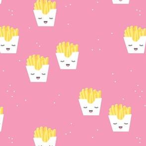 Cute kawaii fries fun japanese food design kids pink girls