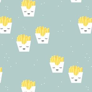Cute kawaii fries fun japanese food design kids mint boys