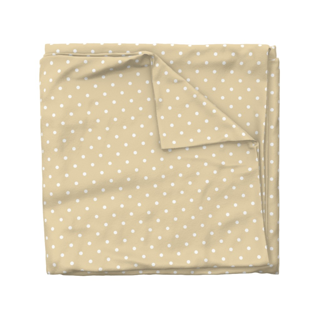 Wyandotte Duvet Cover featuring Polka Dotties // White on Biscuit by theartwerks