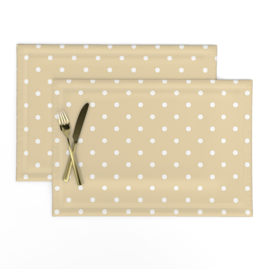Lamona Cloth Placemats featuring Polka Dotties // White on Biscuit by theartwerks