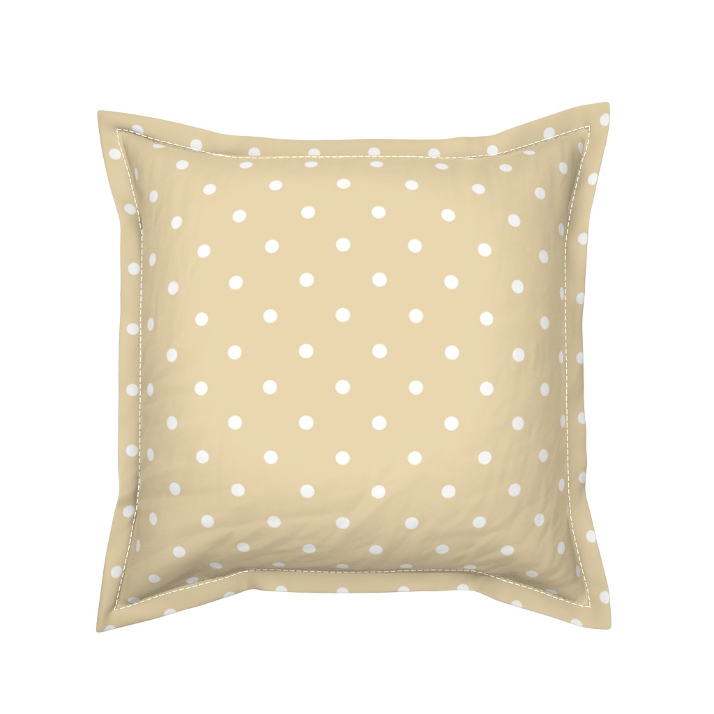 Serama Throw Pillow featuring Polka Dotties // White on Biscuit by theartwerks