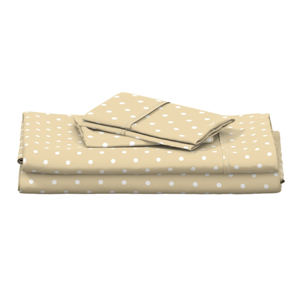 Langshan Full Bed Set featuring Polka Dotties // White on Biscuit by theartwerks