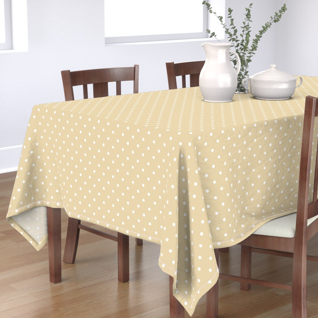 Bantam Rectangular Tablecloth featuring Polka Dotties // White on Biscuit by theartwerks