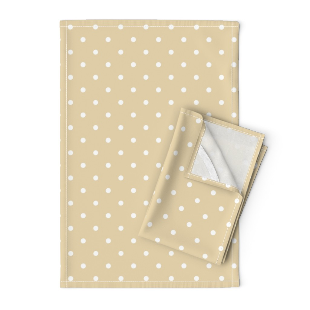 Orpington Tea Towels featuring Polka Dotties // White on Biscuit by theartwerks