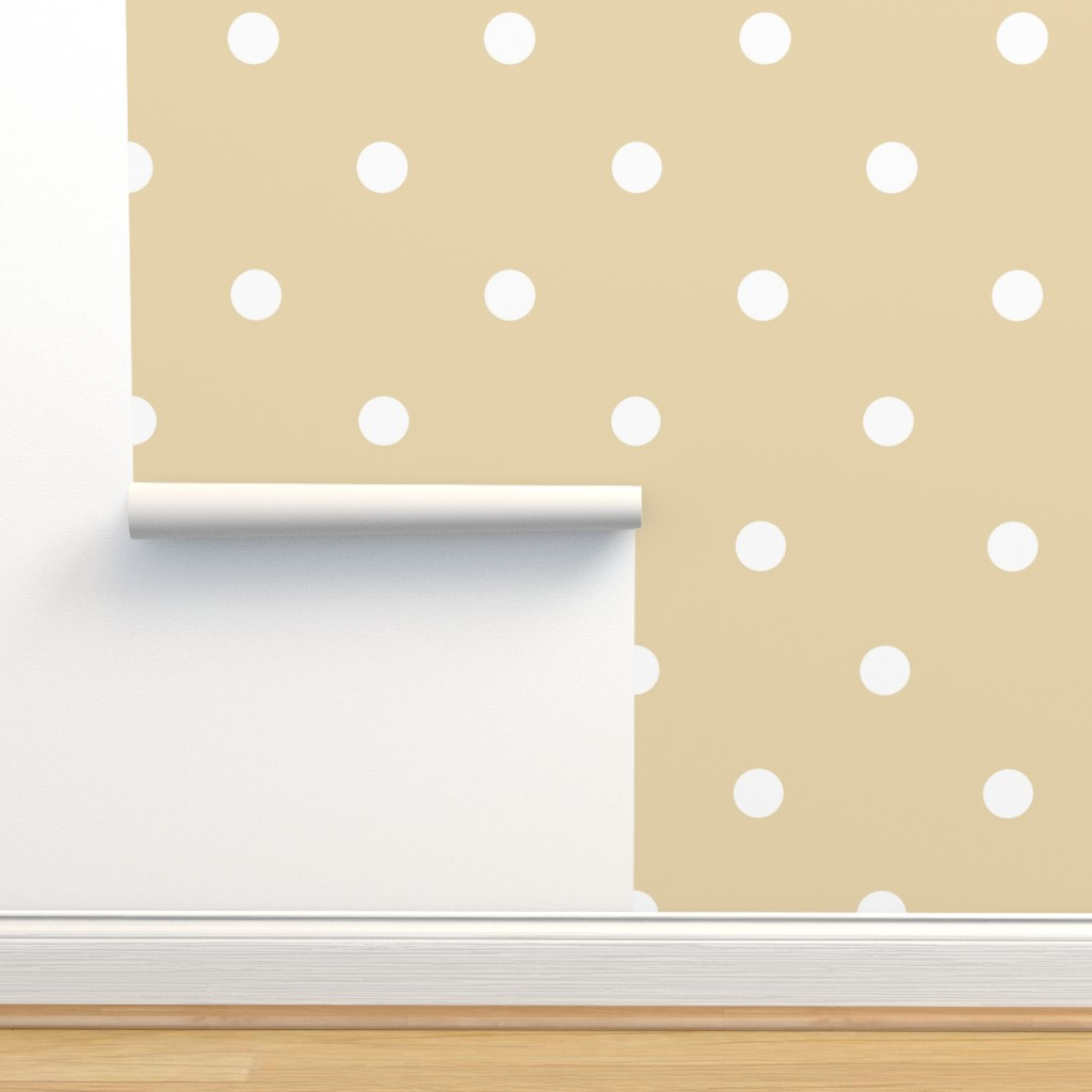 Isobar Durable Wallpaper featuring Polka Dotties // White on Biscuit by theartwerks