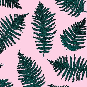 Botanical summer garden green fern tropical plant pink green summer girls