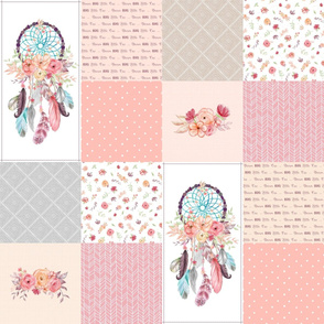 Girls Dream Catcher Cheater Quilt – Feathers & Flowers Blanket Panel, Dream Big Little One, Peach Gray Pink, Design A
