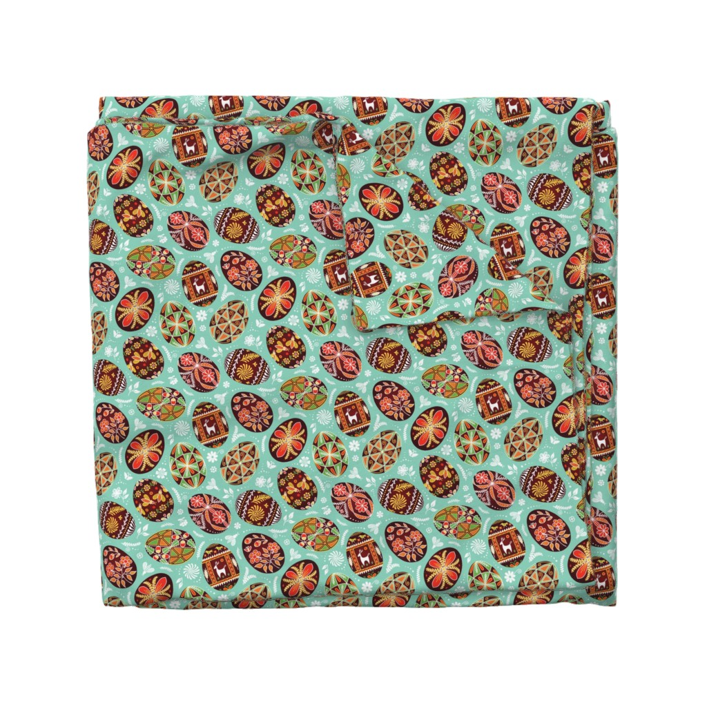 Wyandotte Duvet Cover featuring Pysanky - Symbols of Life by nadyabasos