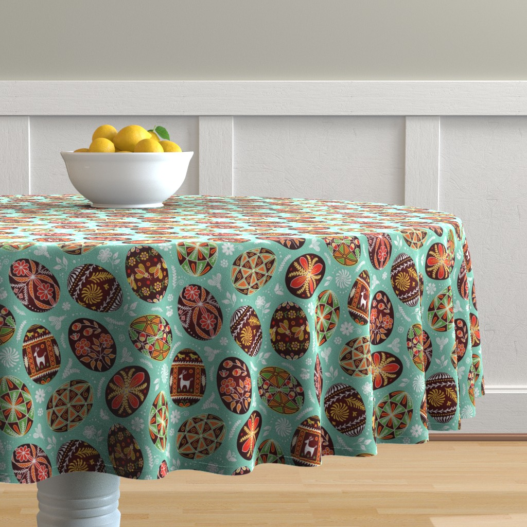 Malay Round Tablecloth featuring Pysanky - Symbols of Life by nadyabasos
