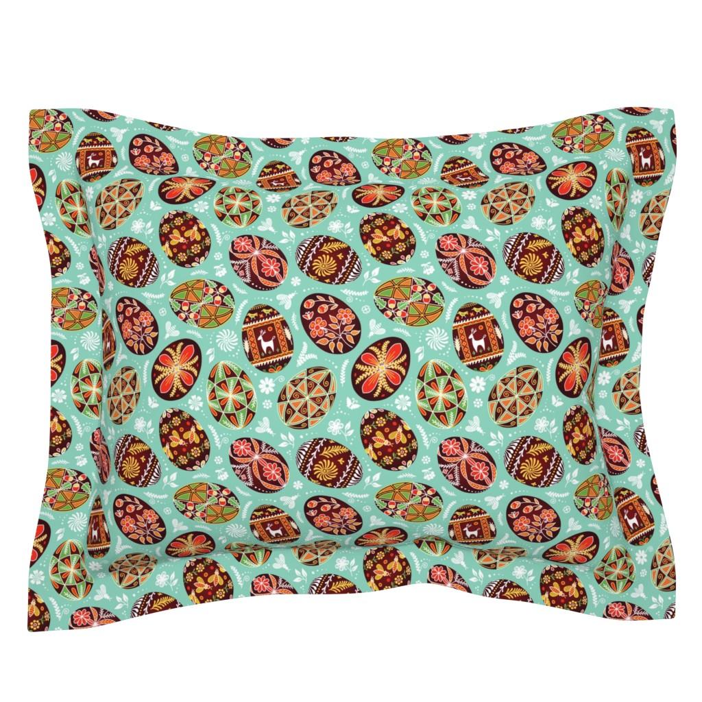 Sebright Pillow Sham featuring Pysanky - Symbols of Life by nadyabasos