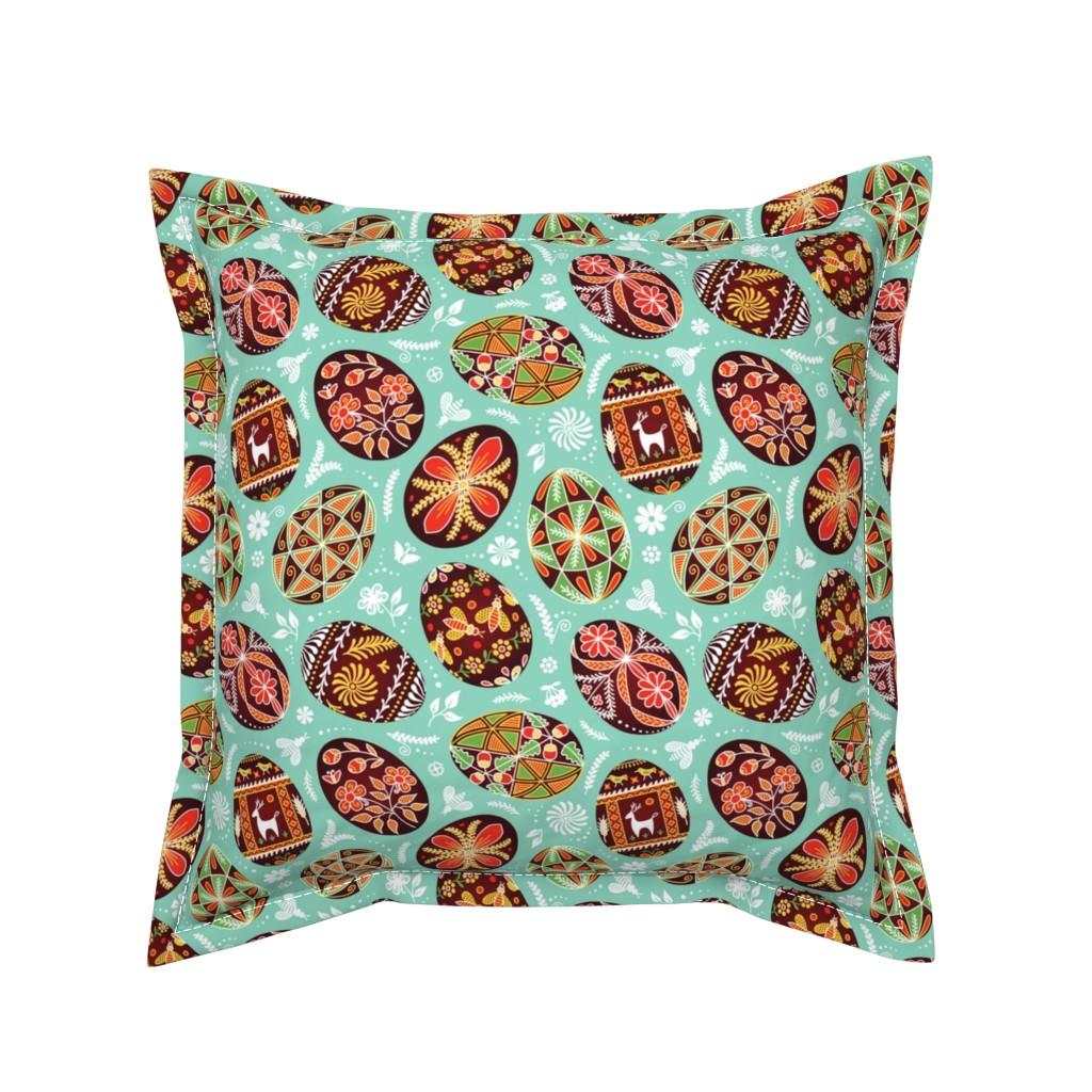 Serama Throw Pillow featuring Pysanky - Symbols of Life by nadyabasos