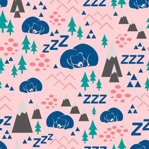 sleepy bears - blue green pink