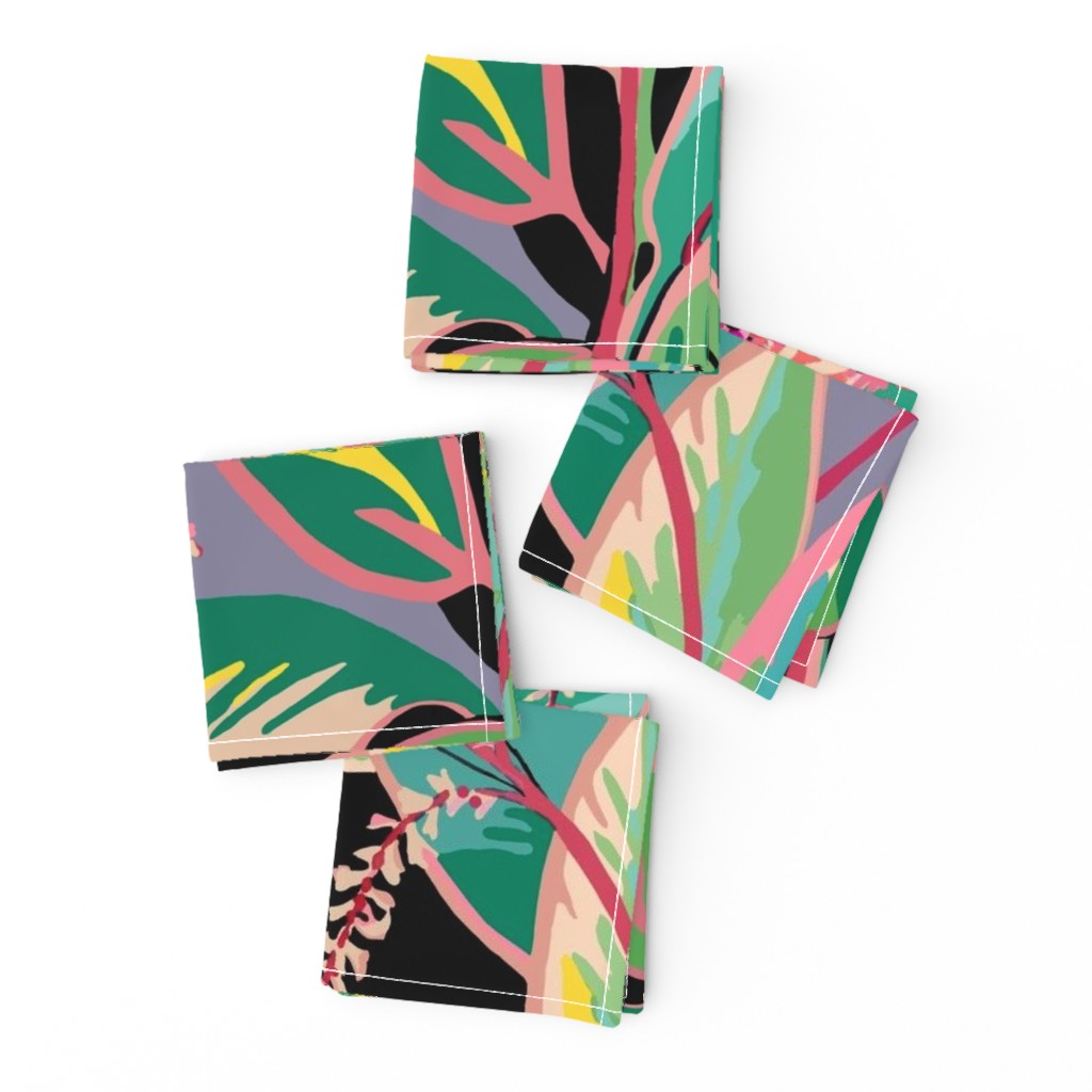 Frizzle Cocktail Napkins featuring Tropical T-leaf bloom by maliuana