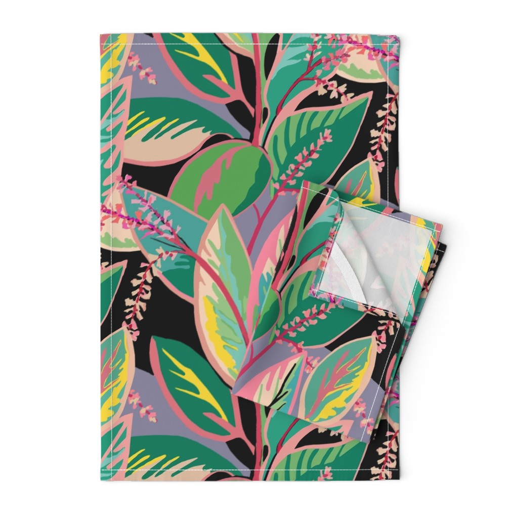 Orpington Tea Towels featuring Tropical T-leaf bloom by maliuana