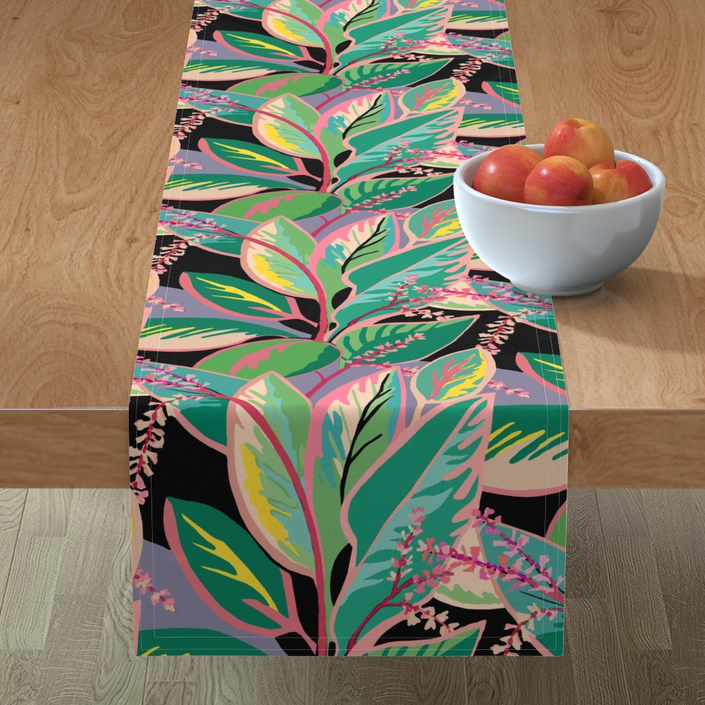 Minorca Table Runner featuring Tropical T-leaf bloom by maliuana