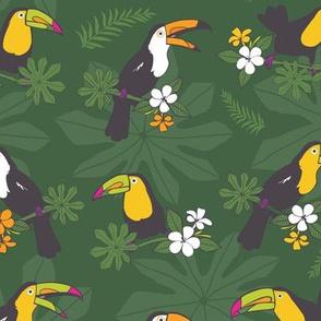 Dark green toucans pattern