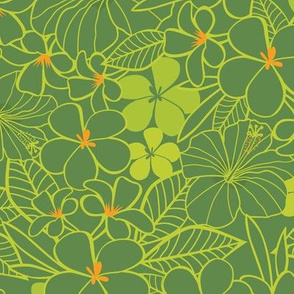 Green tropical flowers pattern