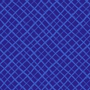 Diagonal Check Hand Drawn Lines / Blue