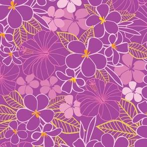 Purple tropical flowers pattern