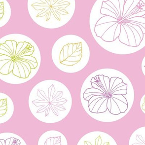 Pink and white tropical pattern with circles