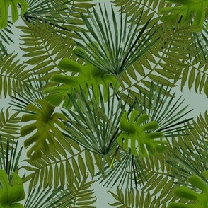 TropicalLeavesLargeTurquoiseBackground