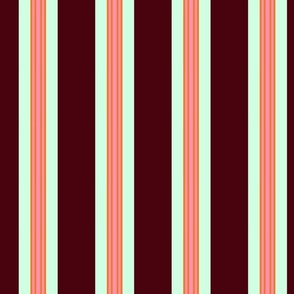 stripe burgundy mint pink orange