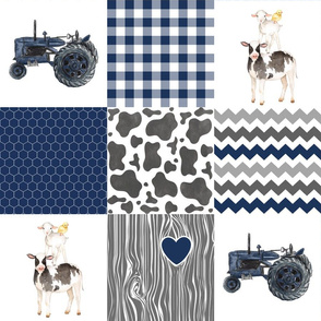 Farm//Love you till the cows come home//Tractor - Wholecloth Cheater Quilt
