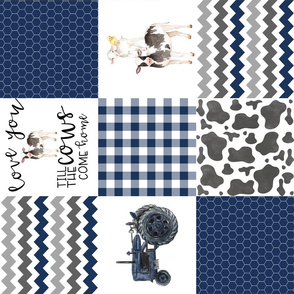 Farm//Love you till the cows come home//Tractor - Wholecloth Cheater Quilt - Rotated