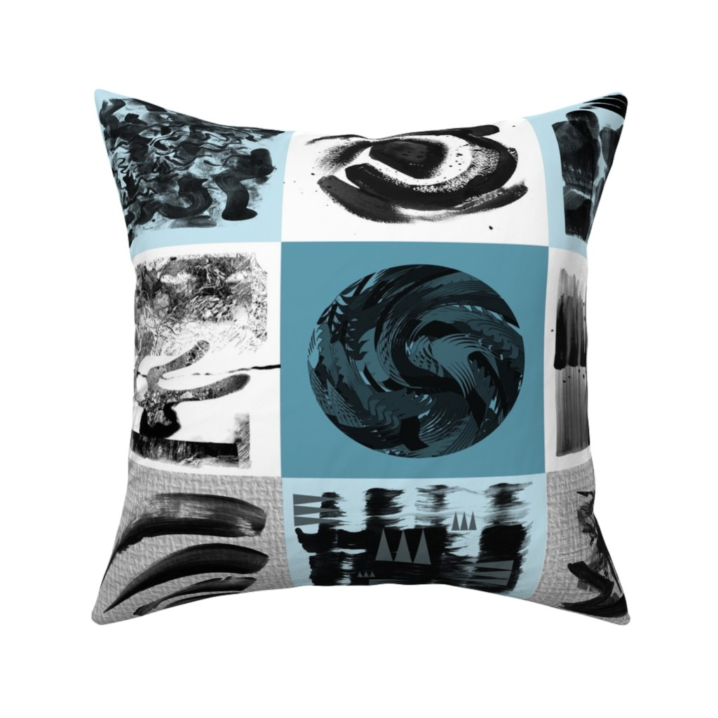 Catalan Throw Pillow featuring Modern art patchwork quilt top large blue black and white by barbarapritchard