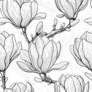 Magnolia garden black and white