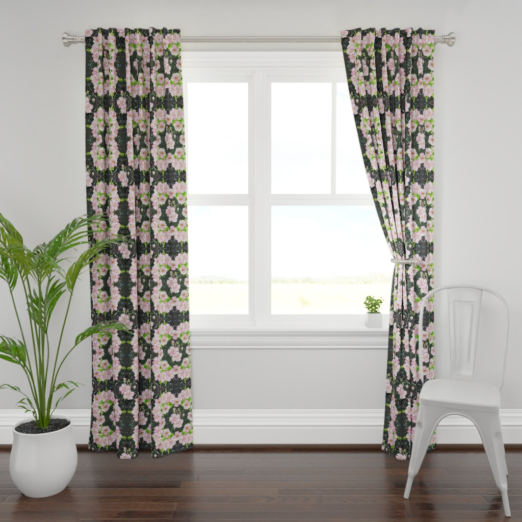 Plymouth Curtain Panel featuring Deep, Dark & Floral - cubed! by moirarae