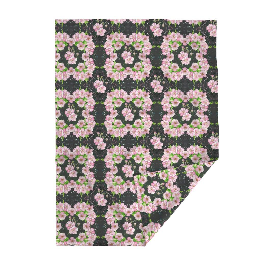 Lakenvelder Throw Blanket featuring Deep, Dark & Floral - cubed! by moirarae