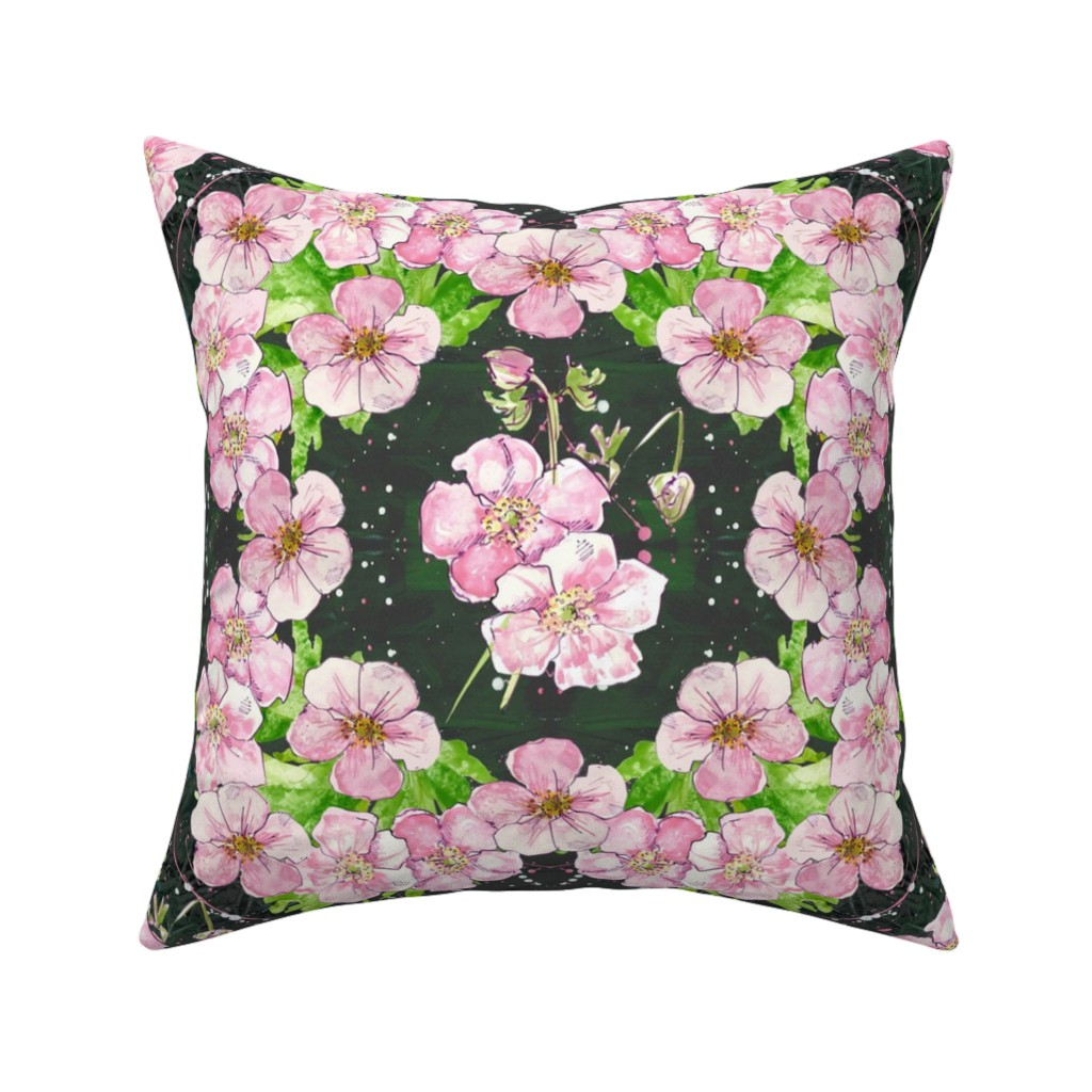 Catalan Throw Pillow featuring Deep, Dark & Floral - cubed! by moirarae