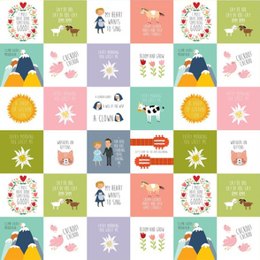 sound of music quilting squares 3in