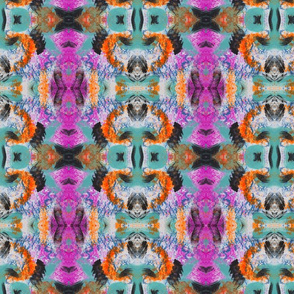 Abstract Bold Pink and Orange Paint Mark Pattern