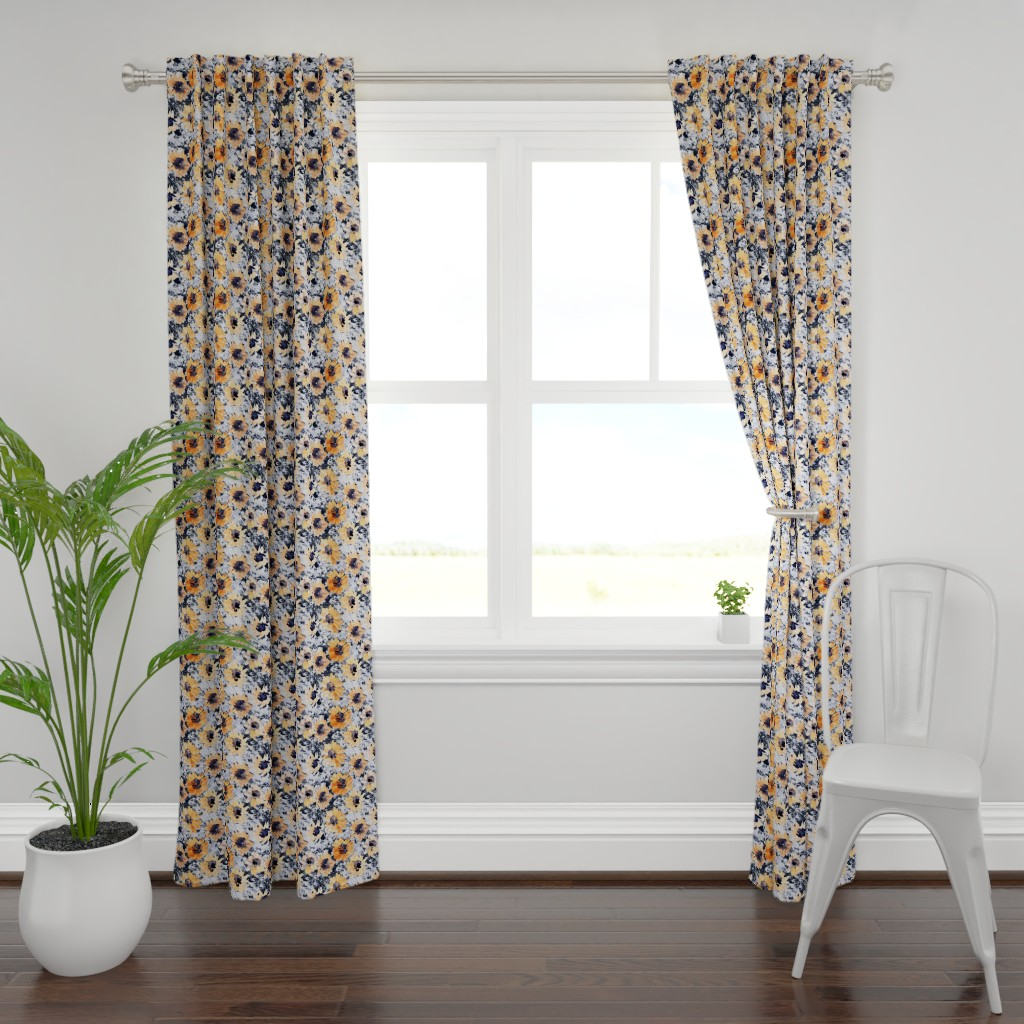 Plymouth Curtain Panel featuring Yellowflowers by susanna_nousiainen