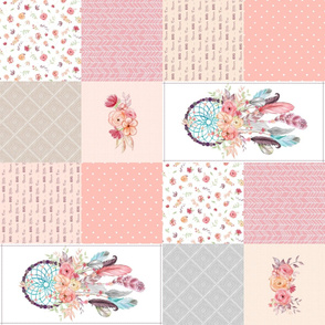 Girls Dream Catcher Cheater Quilt – Feathers & Flowers Blanket Panel, Dream Big Little One, Peach Gray Pink, Design A ROTATED