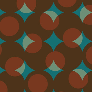 enormous halftone dots in moroccan brown, rust and turquoise