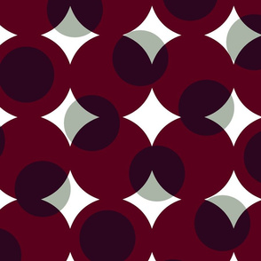 enormous halftone dots - white and pewter grey on burgundy