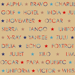 Nautical alphabet in 1940s colors on taupe
