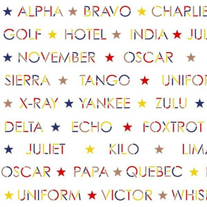 Nautical alphabet in 1940s colors on white