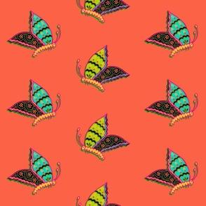 big bold butterflies - orange