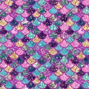 "Temp size change Mermaid Scales multi glitter 3/4"" aqua pink purple gold"