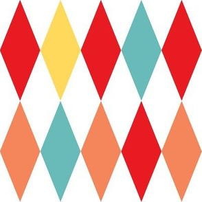 1950s harlequin diamonds - red, coral, baby blue, yellow