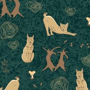 Lovely woodland lynxes on dark foliage