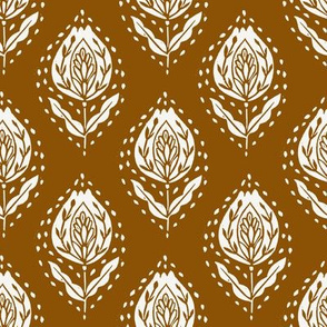 ginger flower - block printed fabric, ogee fabric, ogee floral, block print fabric, - ginger